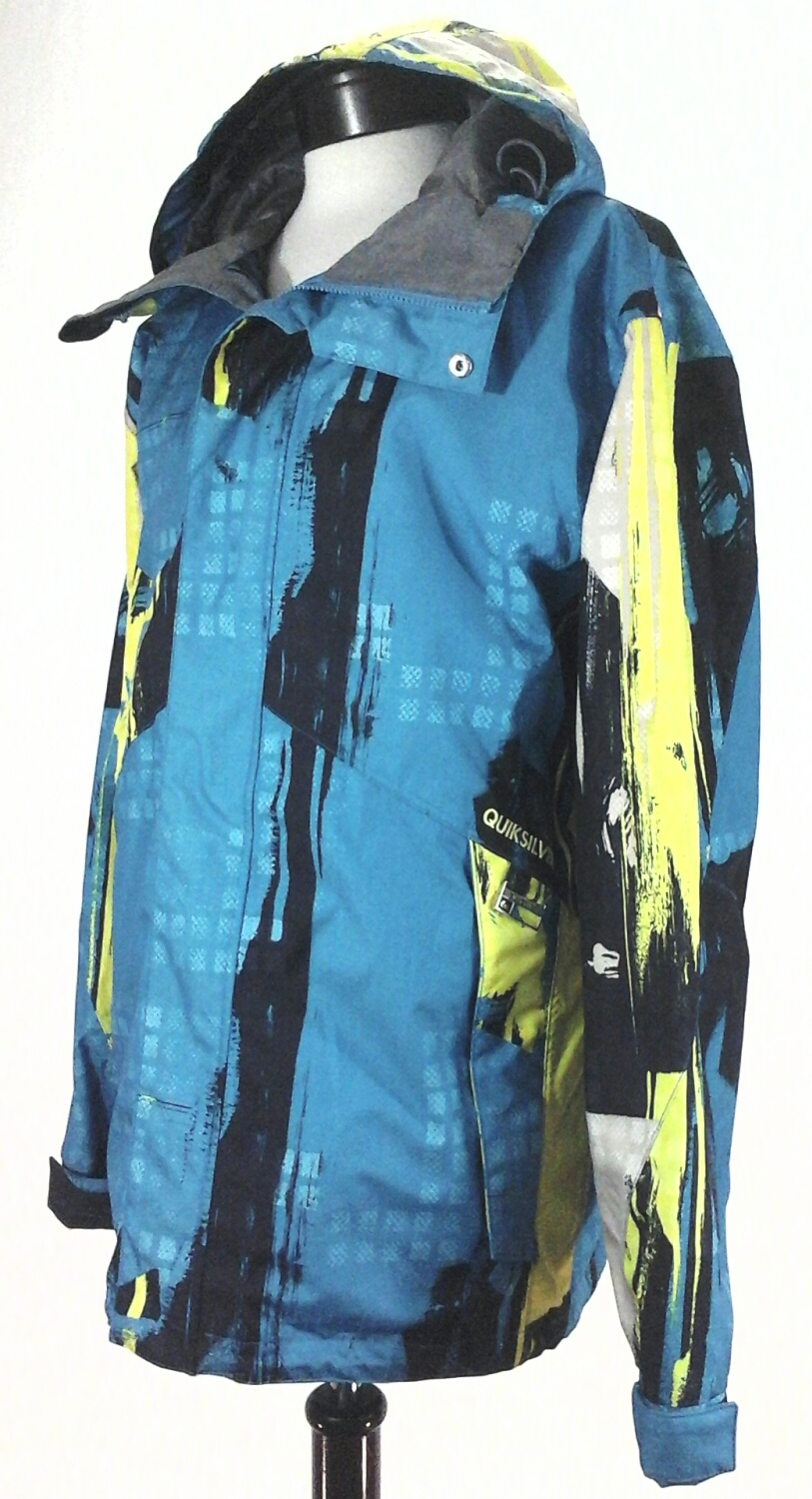 24b55e1275f3b Image is loading QUICKSILVER-Ski-Snowboard-Jacket-Turquoise-Yellow-Black- Print-