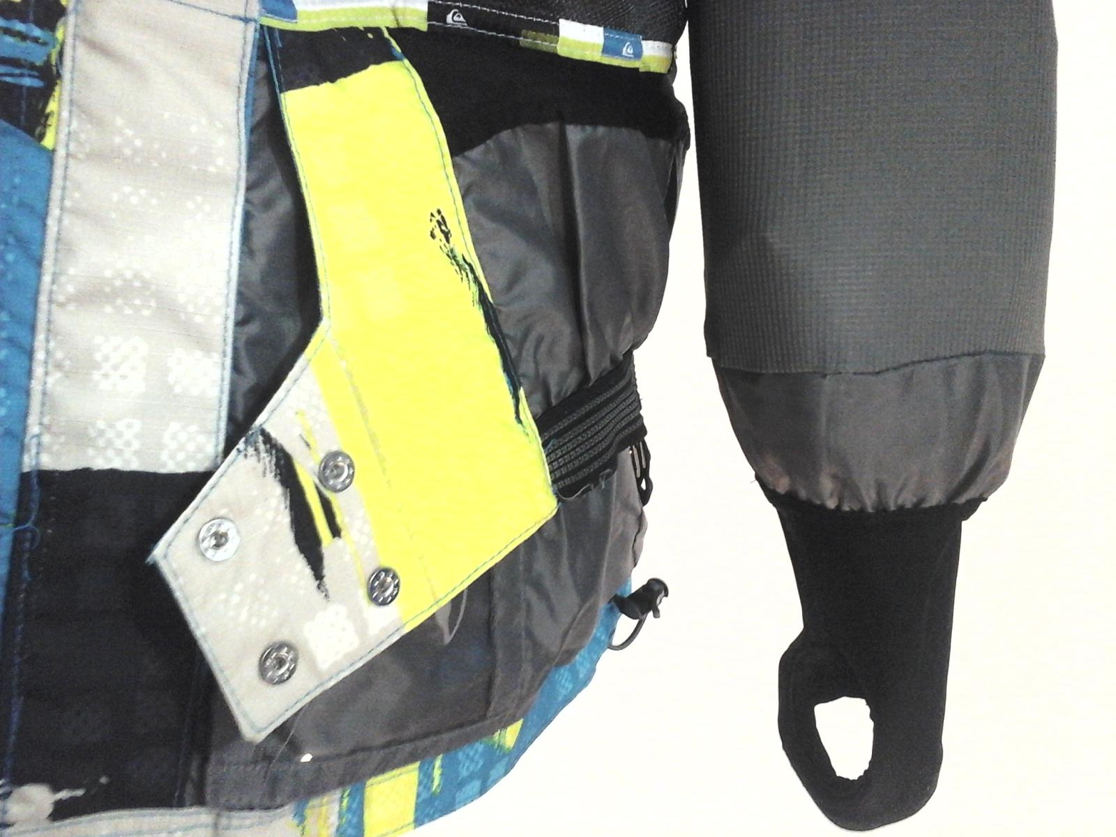 5f5f2a78d9ed QUICKSILVER Ski Snowboard Jacket Turquoise Yellow Black Print Hood ...